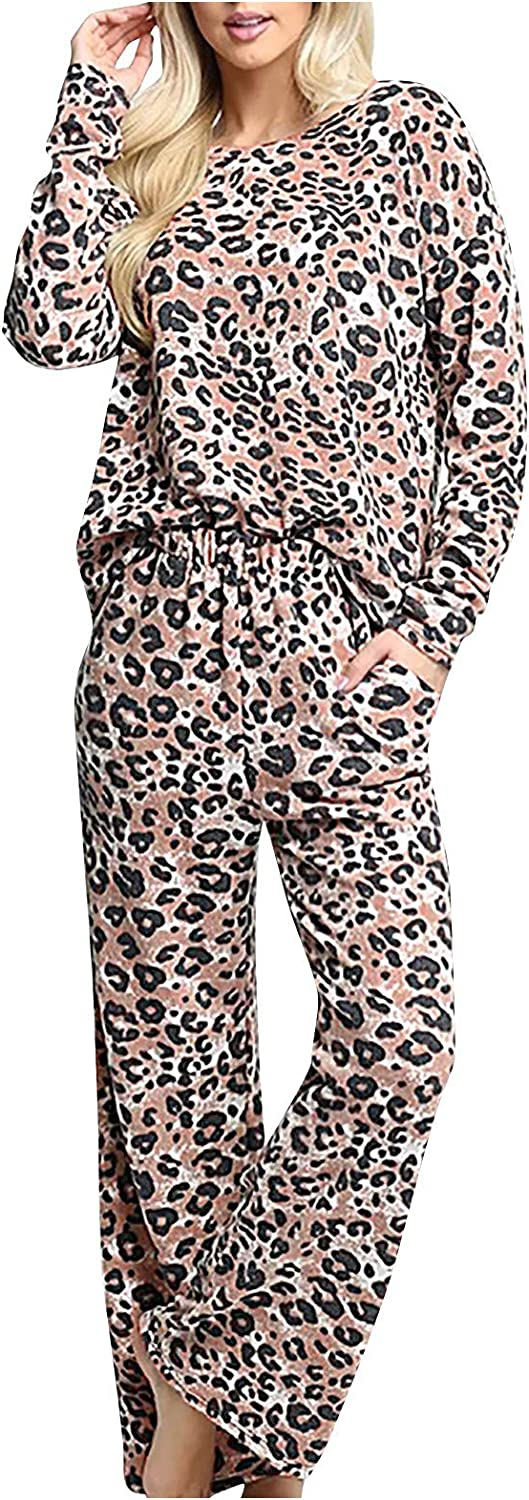 Fankle Women Leopard Print Regular store Pajama Bootcut Piece All stores are sold Two Outfit Match
