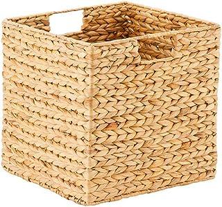 JUNGEN Boîte de rangement Panier Tressé Pliable avec Poignée pour Vêtements Jouets ou Magasines (26x26x26CM)