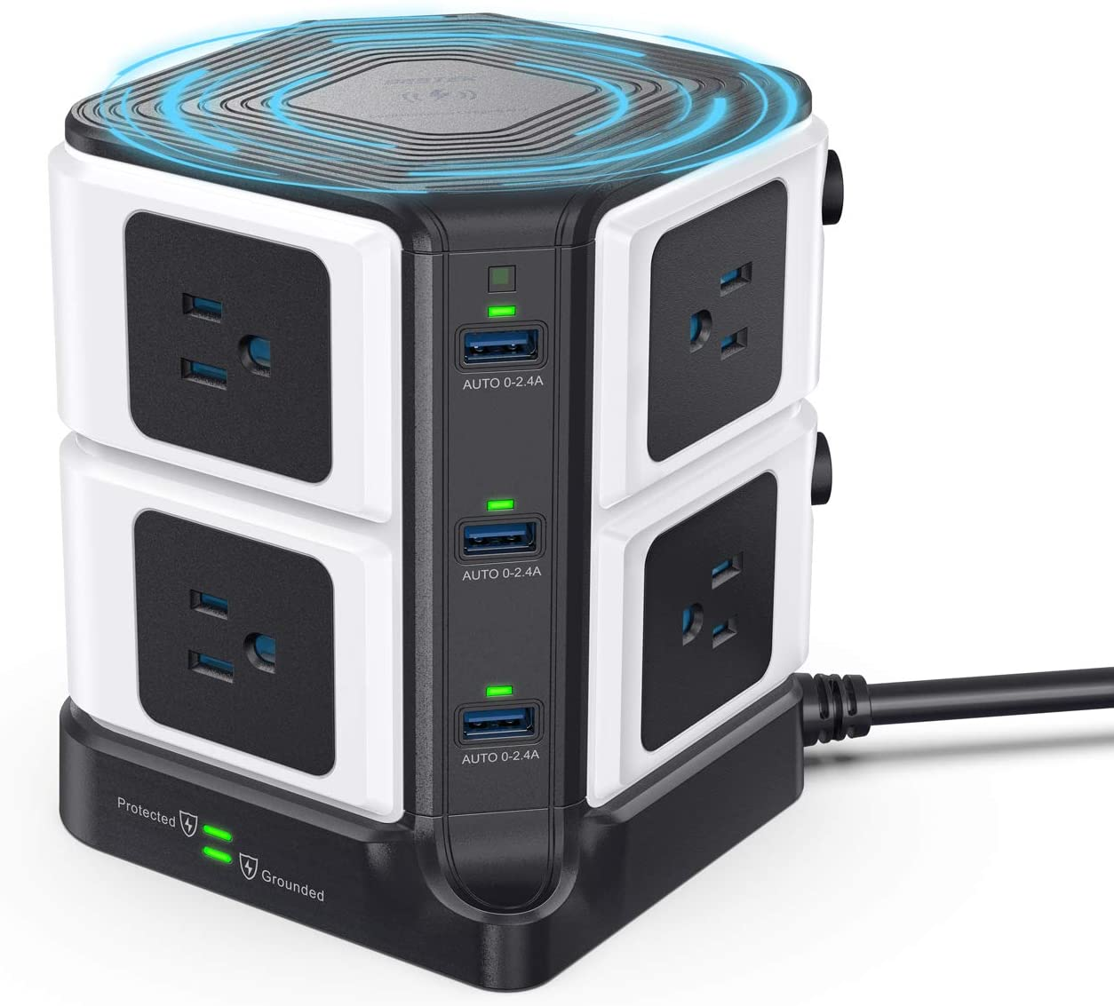 USB Power Strip with Wireless Charger BESTEK 8-Outlet Surge Protector and 40W 6-Port USB Charging Dock Station,1500 Joules,ETL Listed,Dorm Room Accessories (8AC+6USB+Wireless Charger-Black)