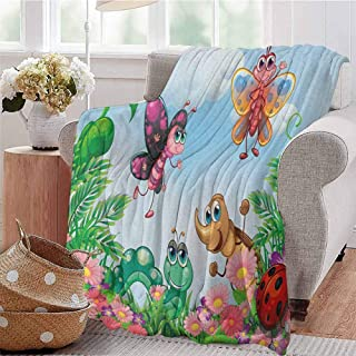 Luoiaax Garden Rugged or Durable Camping Blanket Gardening Theme Illustration of Butterfly Ladybug Worm Flowers and Grass Warm and Washable W91 x L60 Inch Jade Green Fern Green