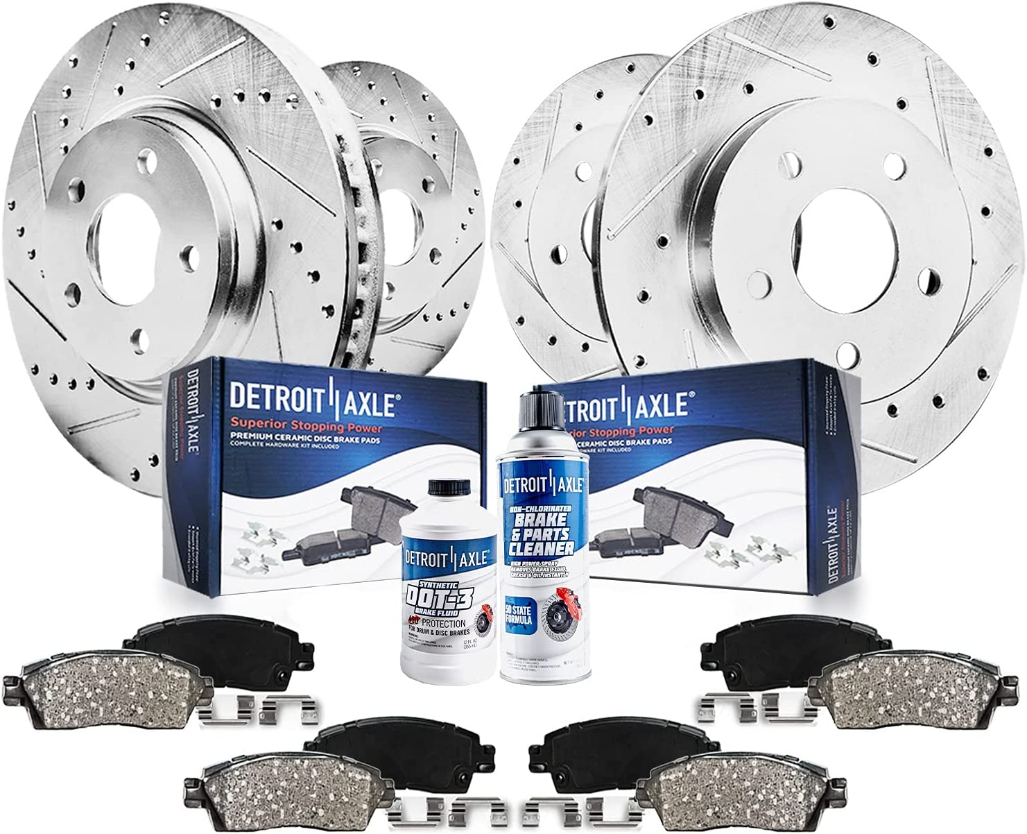 Detroit Award Axle - All 4 Front 35% OFF B Slotted Drilled Disc and Rear