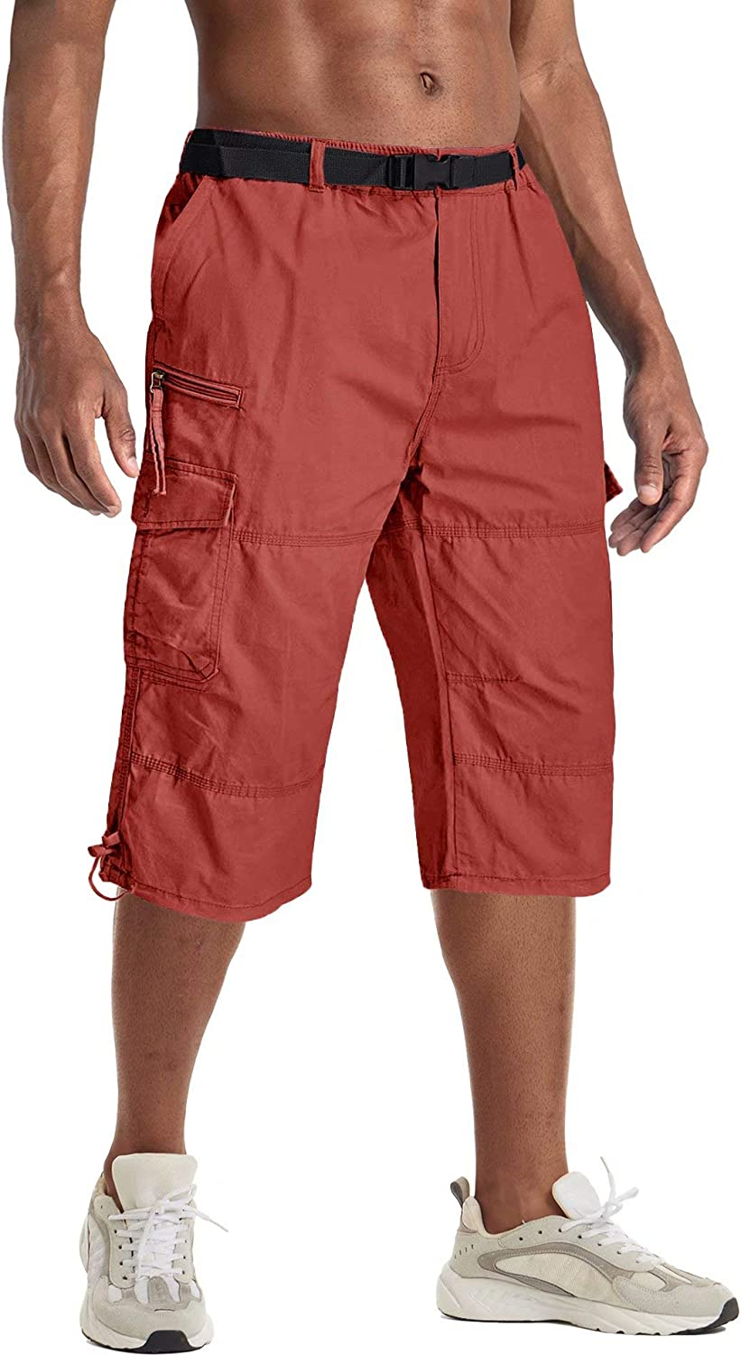 BIYLACLESEN Men's Cargo Shorts Twill Elastic Relaxed Fit Below Knee 3/4 Capri Long Shorts with 7 Pockets