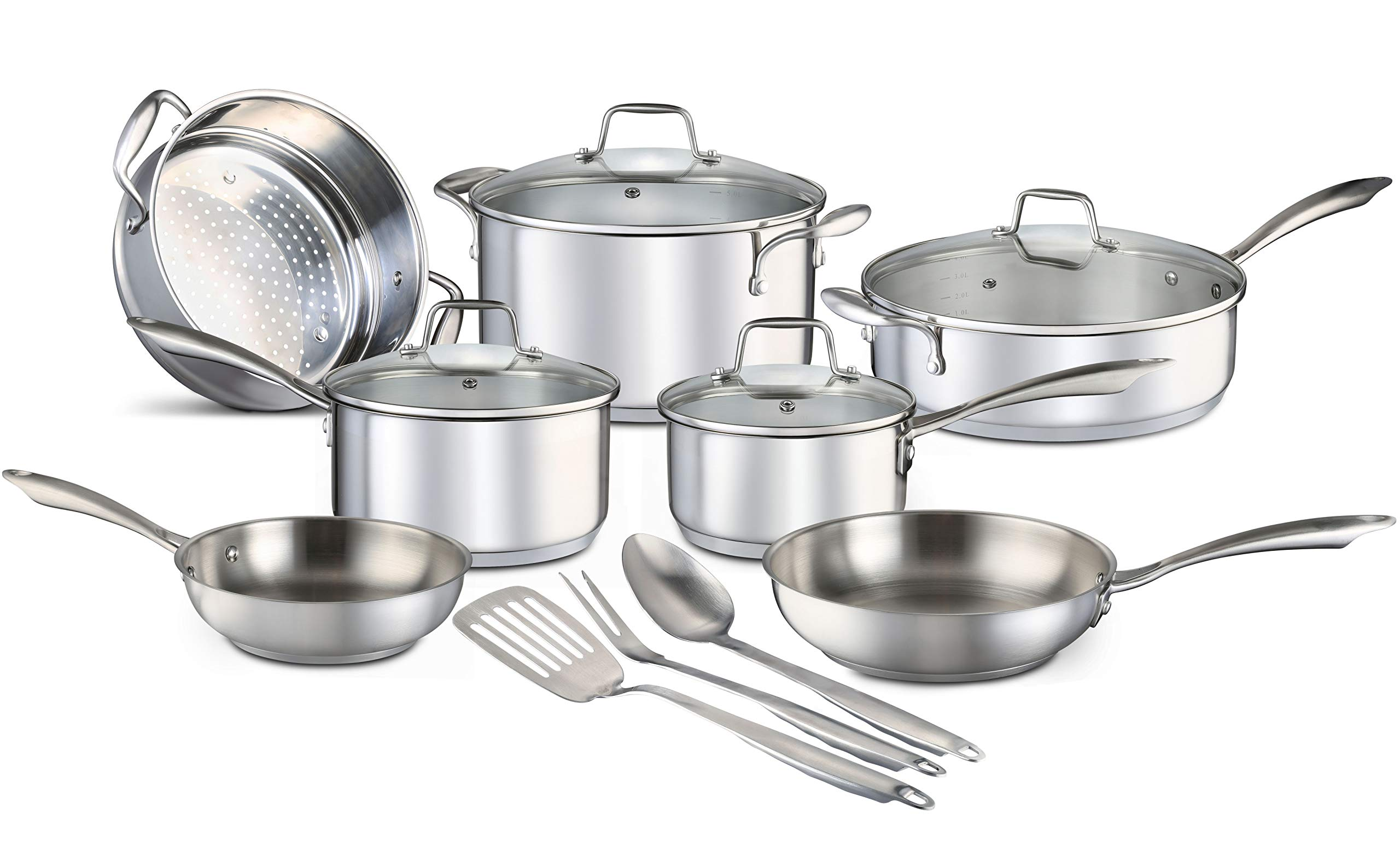 Chef S Star 14 Piece Stainless Steel Pots And Pans Set Professional Grade Kitchen Induction Cookware Oven And Freezer Safe Impact Bonded Technology Includes Three Cooking Utensils Amazon Ca Home Kitchen