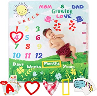 """3D Happiness Baby Monthly Milestone Blanket, Customized with A-Z Letters (x2), Personalized Baby Blanket, for Boy/Girl, Photo Blanket for Baby Shower + Bib, 6 Milestone Cards & 2 Frames, Large 47""""x43"""""""