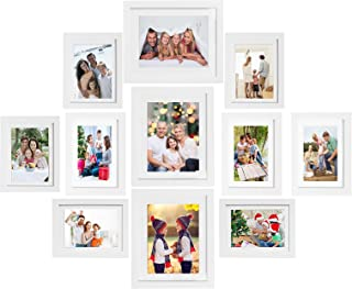 Voilamart Picture Frames Set of 11, Multi Pack Photo Frame Set Wall Gallery Kit - Display Three 8x10 in, Three 6x8 in, Five 5x7 in, with Wall Template and Hanging Hardware, White