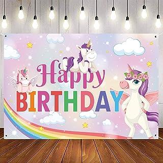 Happy Birthday Backdrop for Unicorn Theme Birthday Party Decorations, Unicorn Party Photo Background for Girls, Rainbow Ba...