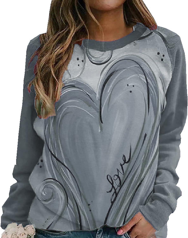 Womens Hoodies Pullover Cute Funny Love Printed Crewneck Sweatshirts Loose Long Sleeve T-Shirts Graphic Tees