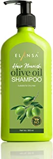 Elansa Hair Nourish Olive Oil Shampoo - No Parabens, Color, Sulphates and Silicones, 300 ml