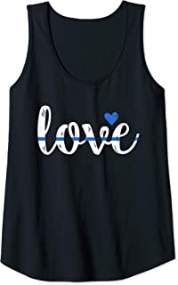 Womens Cute Thin Blue Line Love Design - Police Wife or Girlfriend Tank Top