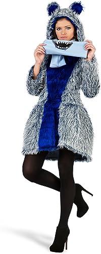 protección post-venta Elbenwald Disfraz de monstruo sexy, abrigo, bufanda, Jolie Jolie Jolie Robe, botones, pastel, capucha, disfraz de carnaval, abrigo de invierno para dama azul  el mejor servicio post-venta