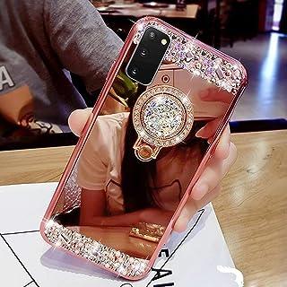 Surakey Beschermhoes met spiegeleffect voor Samsung Galaxy S20, beschermhoes van zachte siliconen, glitter, strass, spiege...