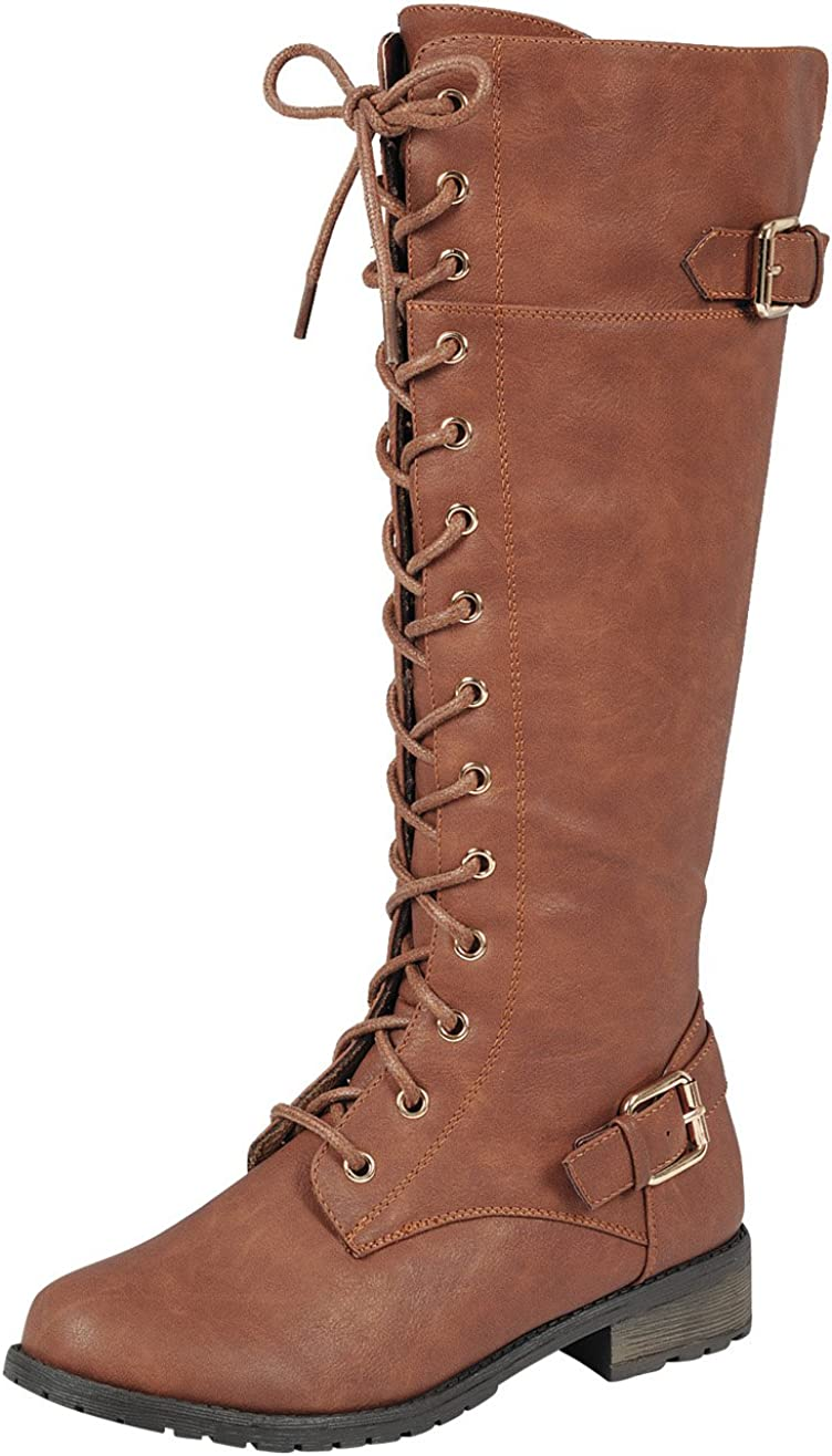 1940s Style Shoes, 40s Shoes, Heels, Boots Forever Link Womens Strappy Lace-Up Knee High Combat Stacked Heel Boot  AT vintagedancer.com