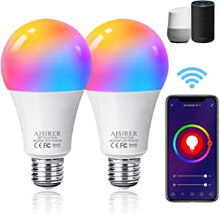 AISIRER Alexa Smart Bulb WiFi Light Bulbs E27 Screw, 2 Pack, 10W 1000LM, App or Voice Control, 90W Dimmable White and RGBC...