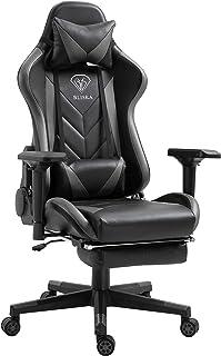 Trisens Gamingstoel, 4D-armleuningen, stoel, racing, managersstoel, bureaustoel, sportstoel, kleur: zwart/grijs