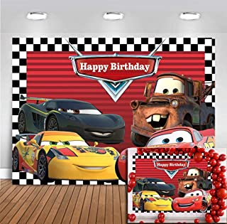 Racing Story Route 66 Car Photography Backdrop Red Gird Checkered Flag Boy Kids Birthday Cars Backdrop Mobilization Photo Background Party Banner Photobooth Studio Props Decoration Vinyl 5x3ft