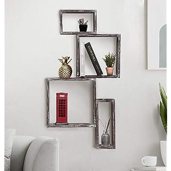 J JACKCUBE DESIGN MK517A - Estantería flotante para pared, 4 cubos, rústico, estante de madera, caja de sombras, pared decorativa para sala de estar, baño, cocina, dormitorio: Amazon.es: Hogar