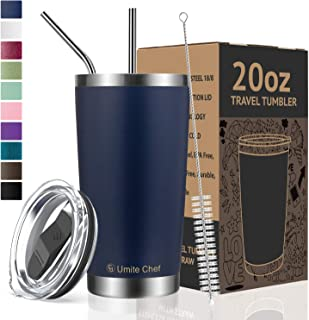 Umite Chef 20oz Tumbler Double Wall Stainless Steel Vacuum Insulated Travel Mug with Lid, Insulated Coffee Cup, 2 Straws, for Home, Outdoor, Office, School, Ice Drink, Hot Beverage (20 oz, Navy)