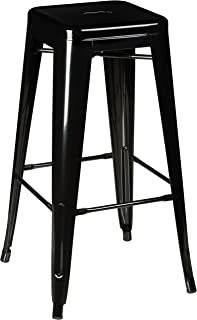 Pioneer Square Haley 30-Inch Backless Square-Seated Metal Bar Stool, Set of 4 - Jet Black