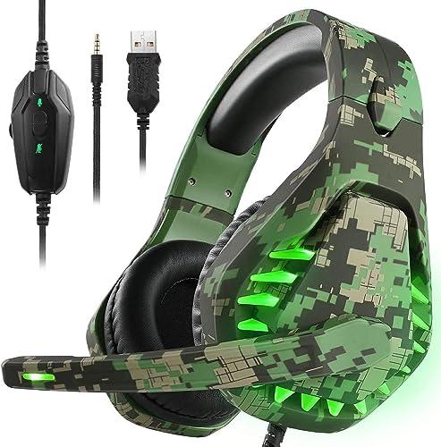 Butfulake - Auriculares de PC con cancelación de ruido con micrófono, PS4 para juegos con sonido envolvente 7.1 estér...