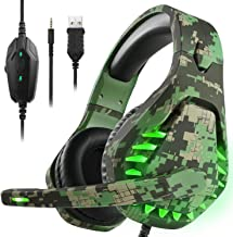 Best Butfulake Noise Cancelling PC Headset with Mic,PS4 Gaming Headset with 7.1 Surround Sound Stereo for PS5 Switch,Omnidirectional Microphone Vibration LED Light,Compatible with Mac/Laptop,Camo Green Review