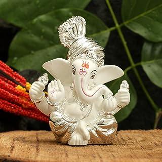 CraftVatika Silver Plated Pagdi Ganesha for Car Dashboard Lord Ganesh Ganpati Idols Home Decor Gifts for Family and Friend...