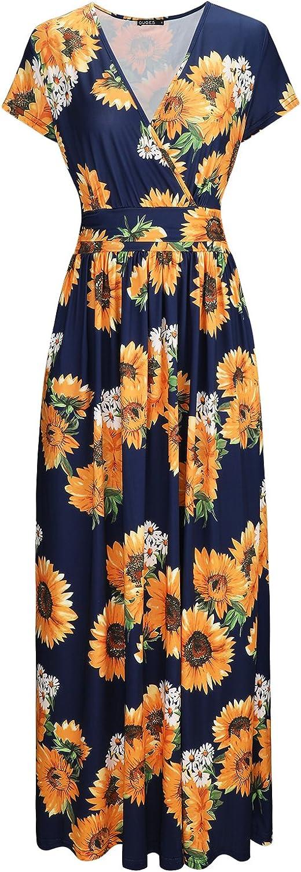 OUGES Max 66% OFF Women's V-Neck Pattern Dress Maxi Pocket Long Challenge the lowest price of Japan