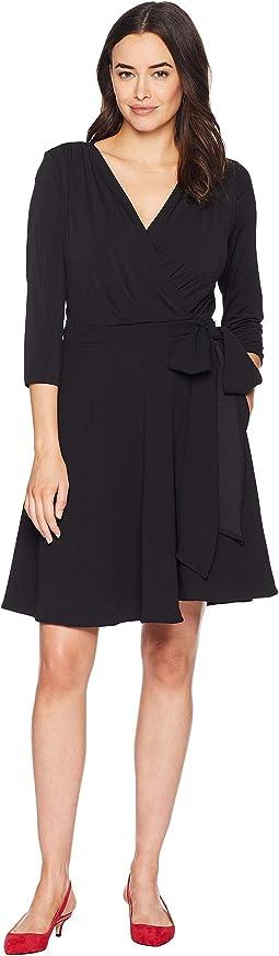 3/4 Sleeve Solid Wrap Dress