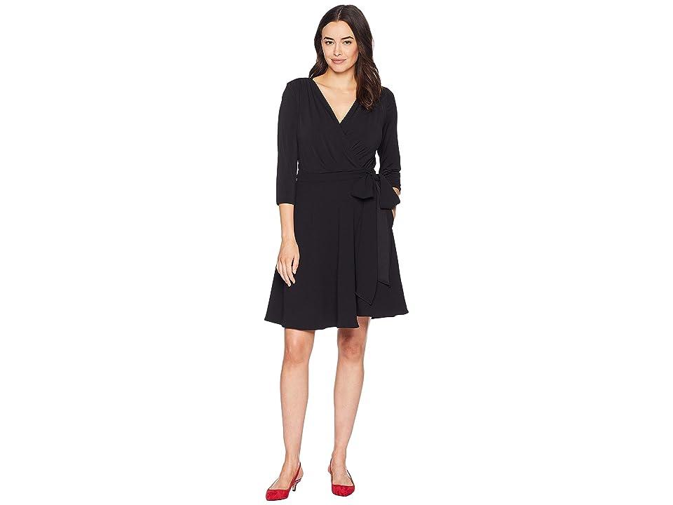 eci 3/4 Sleeve Solid Wrap Dress (Black) Women
