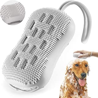 Aufew Dog Silicone Brush, Pet Shampoo Brushes for Washing Grooming Gently Massaging, Soft Bath Brush Bristles Combs for Short or Long Haired Cats, Dogs (Gray)