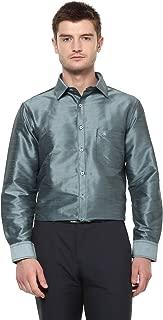 Khoday Williams Men's Dark Silver Poly Silk Solid Shirt