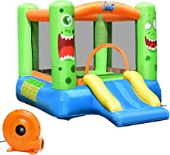 Costzon Inflatable Bounce House, Castle Jump and Slide Bouncer with Oxford Mesh Wall, Ideal for Indoor & Outdoor Use, Including Oxford Carrying Bag, Repair Kit, Stakes, 580W Air Blower, Green