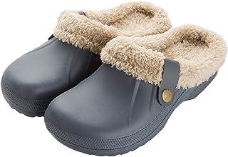 ChayChax Femme Hiver Sabots Fourrées Homme Pantoufles Chaud Peluche Chaussons Maison Imperméables Chaussures de Jardin Int...