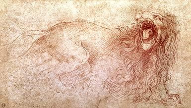 kunst für alle Art Print/Poster: Leonardo da Vinci Sketch of a Roaring Lion Picture, Fine Art Poster, 39.4x21.7 inch / 100x55 cm