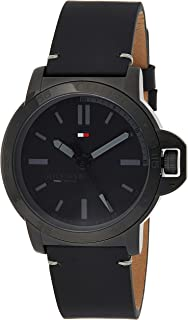 Tommy Hilfiger 1791592 Mens Quartz Watch, Analog Display and Leather Strap, Black