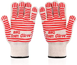 CZSYZCZS Oven Gloves Grill Gloves Extreme Heat Resistant Oven Gloves - EN407 Certified 932F - Cooking Gloves for BBQ, Grilling, Baking,Cutting, Welding, Smoker Fireplace,2 Pack (red)