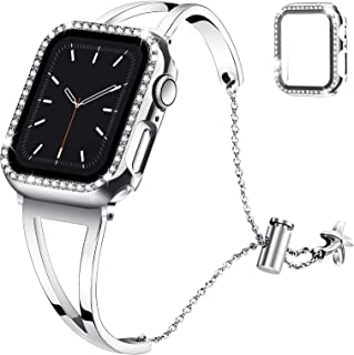 Recoppa Compatible with Apple Watch Band 38mm 40mm 42mm 44mm Series 6 5 4 3 2 1, Jewelry Bracelet Bangle Wristband and Bling Case with Tempered Glass Screen Protector for iWatch(Silver/Silver, 40mm)