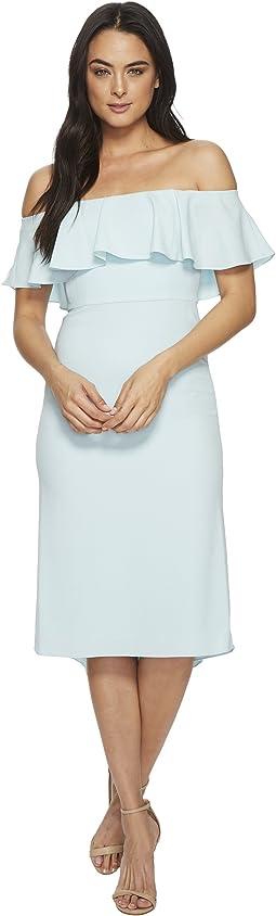 Halston Heritage Off Shoulder Flounce Detail Crepe Dress