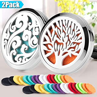 2PCS Aromatherapy Essential Oil Diffuser Car Diffuser Vent Clip 30mm Stainless Steel Car Diffuser Locket Air Freshener 32 Felt Pads(Tree of Life & Cloud)
