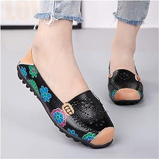 Dames instapreisschoenen, comfortabele leren damesschoenen, ademende bootschoenen, wandelschoenen, canvas zeilschoenen, pl...