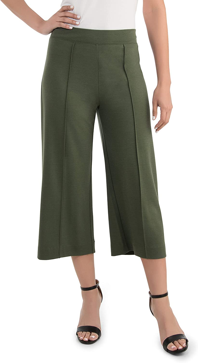 Seek No Further by Fruit of the Loom Women's Wide Leg Ponte Cropped Pants