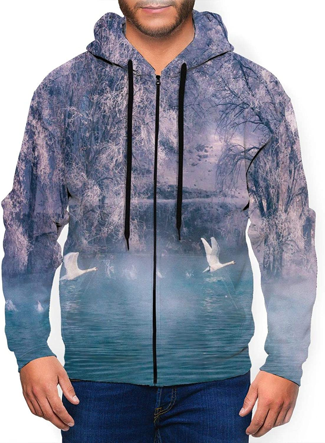 Wozukia Soldering White Swan Men Hoodies Hot On Springs Super beauty product restock quality top Aestheticis Flying