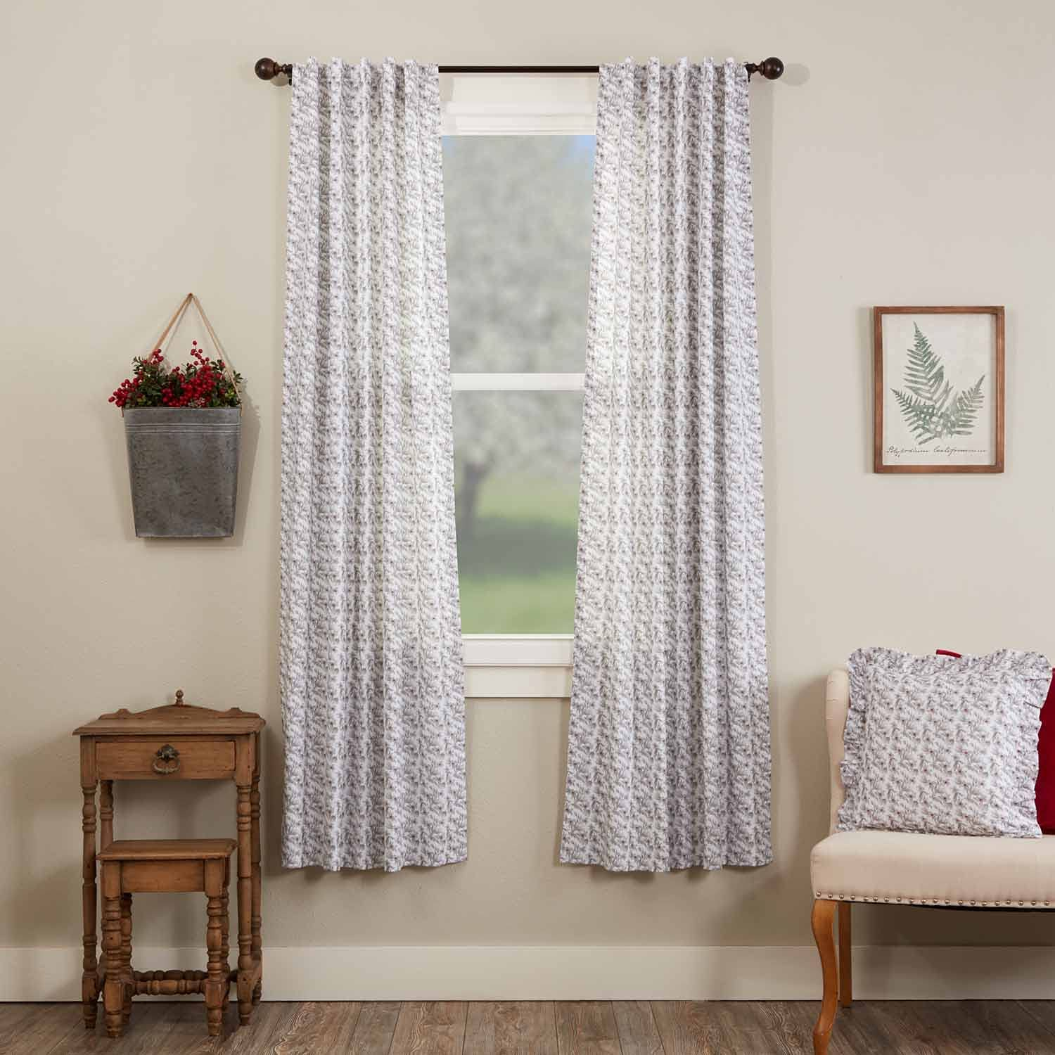 Piper Classics Twilight Floral Panel Curtains, Set of 2 Panels, 84
