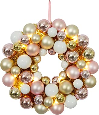Adeeing 16 Inch Christmas Ball Wreath with Lights Ornaments Wreath for Front Door Hanging Ball Garland Xmas Home Wall Firepla