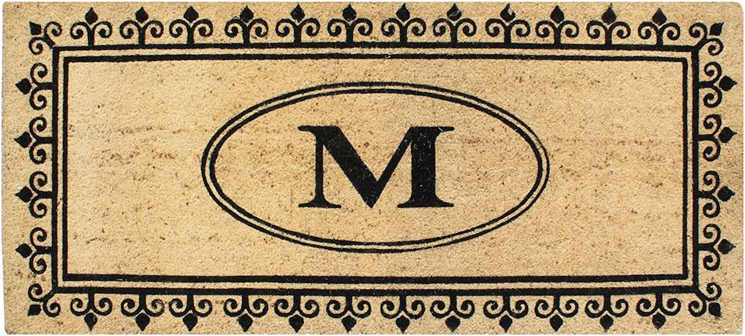 A1 HOME COLLECTIONS A1HC First Impression Quinton Coir Doormat-Monogrammed M, 24 x57 (PT5002M)