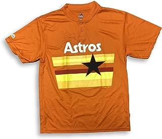 Majestic Houston Astros Two Button Cool Base Orange Jersey T-Shirt