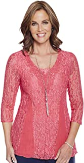Amber Ladies Womens Lace Panel 3/4 Sleeve Top