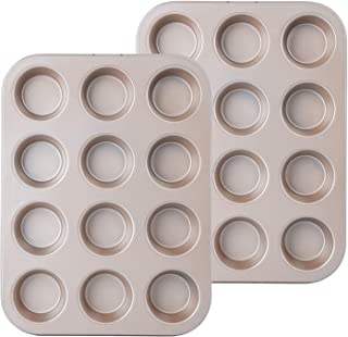 Muffin Pan,Cupcake Tin Non-stick,12 Cups&Quick Release Cake Pan,Muffin Tin,Carbon Steel Muffin tray With Whitford Non-stick Coating 2-pack by FOR BAKE