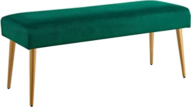 Ball & Cast Upholstered Velvet Bench with Powder Coating Legs, Emerald (HSA-7001-A)