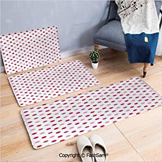 FashSam 3 Piece Flannel Bath Carpet Non Slip Polka Dots Pattern Consisting of an Array of Filled Circles Pop Art Front Door Mats Rugs for Home(W15.7xL23.6 by W19.6xL31.5 by W35.4xL62.9)