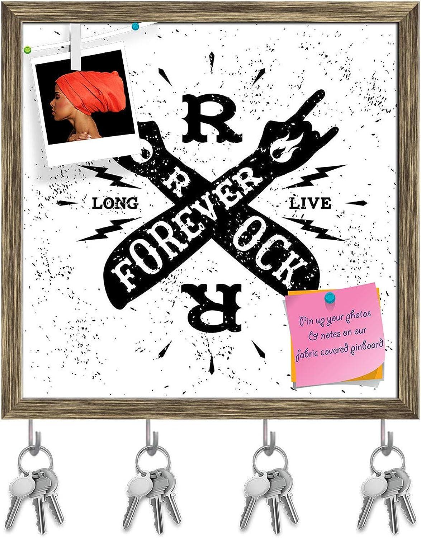Artzfolio Rock Forever Key Holder Hooks   Notice Pin Board   Antique golden Frame 20 X 20Inch